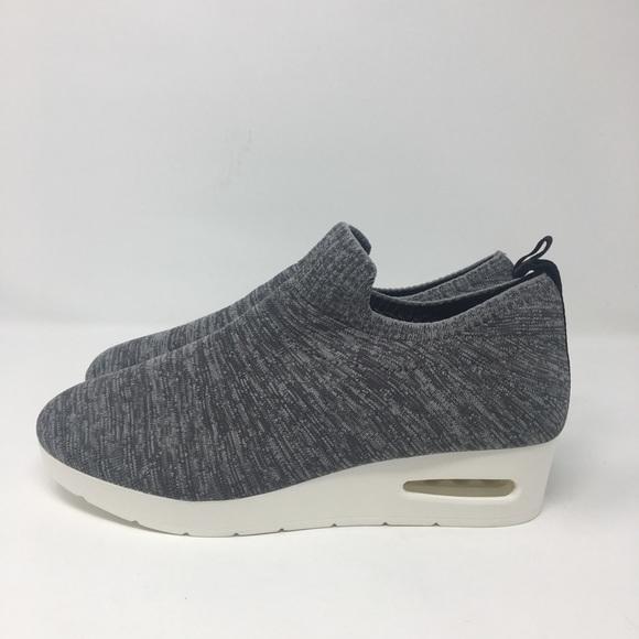 Dkny Angie Wedge Grey Slip On Sneakers